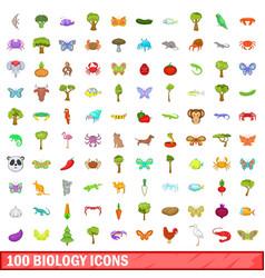 100 biology icons set cartoon style vector