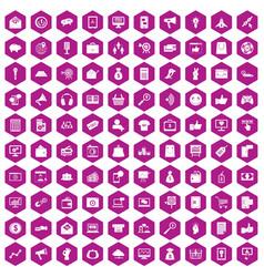 100 digital marketing icons hexagon violet vector image vector image
