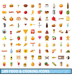 100 food and cooking icons set cartoon style vector image vector image