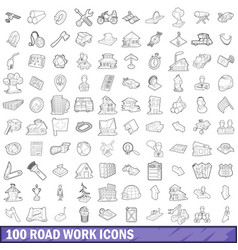 100 road work icons set outline style vector
