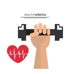 Weight heart pulse icon fitness design vector