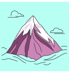 Purple mountain with clods snowy peak vector