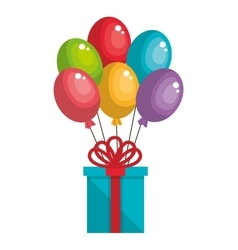 Happy birthday card with balloons air party vector