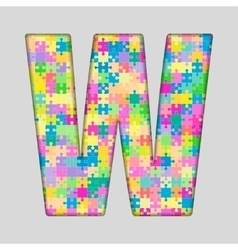 Color piece puzzle jigsaw letter - w vector
