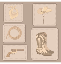 Set of cowboy items vector