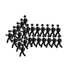 Group of people forming an arrow vector image