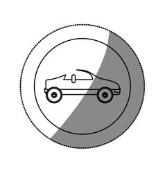 Silhouette circular sticker with convertible vector