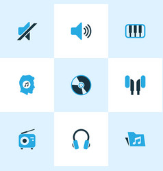 Audio colored icons set collection of piano vector