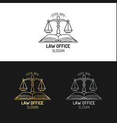 Law office logos set with scales of justice vector