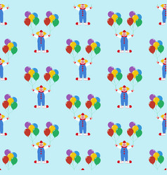 Clown with balloons pattern vector