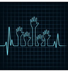 Heartbeat make multiple helping hand vector image