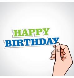 Happy birthday word in hand vector