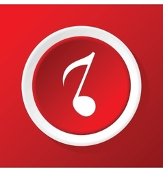 Eighth note icon on red vector