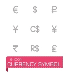 Currency symbol icon set vector