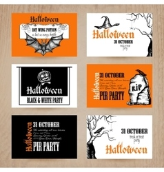 Halloween card set vector