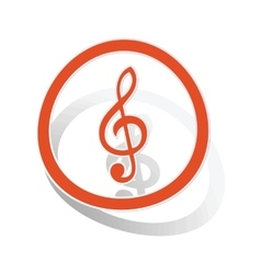 Music sign sticker orange vector