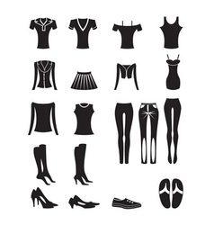 woman and female clothes icons vector image