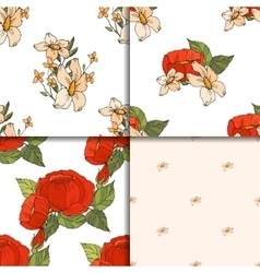 Seamless floral pattern set with peonies vector