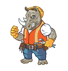 Angry Rhino Construction Worker Mascot vector image