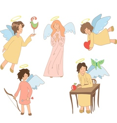set of five cute colored angels vector image