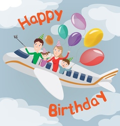 Happy birthday card family in plane happy family vector