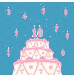 Number candle and cake vector