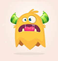 angry orange cartoon monster with horns vector image