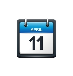 April 11 Calendar icon flat vector image
