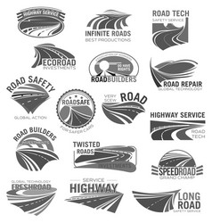 Asphalt road highway and speed freeway symbol set vector
