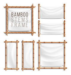 Bamboo frame set with canvas wooden frame vector