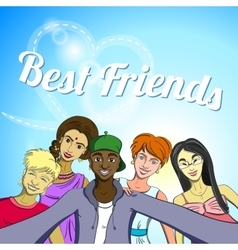 Best friends selfie vector