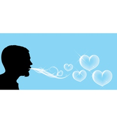 Blowing soap hearts vector