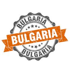 Bulgaria round ribbon seal vector