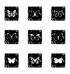 Creatures butterflies icons set grunge style vector