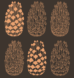 dark hand drawn seamless cone pattern vector image vector image