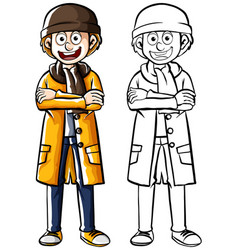 Doodle human character for man in winter clothes vector