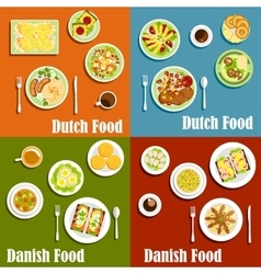 Dutch and danish traditional cuisine vector