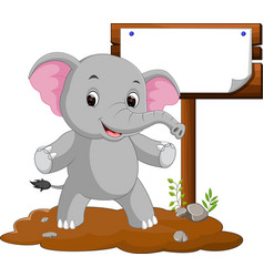 elephant cartoon with a blank sign vector image vector image