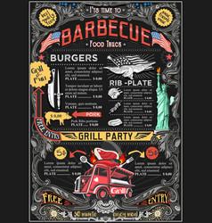 Food truck menu street food bbq grill festival vector