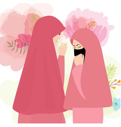 friends wear veil scarf islam cover face two woman vector image