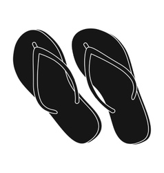 Green flip-flops icon in black style isolated on vector image