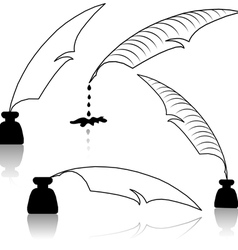 inkwell and feather vector image