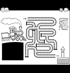 maze with locomotive coloring page vector image vector image