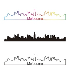 Melbourne skyline linear style with rainbow vector image
