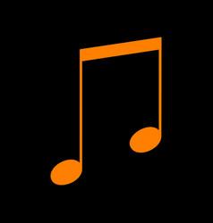 Music sign orange icon on black vector