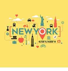 New york city icons and typography design vector