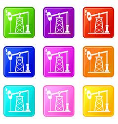 Oil derrick icons 9 set vector