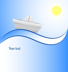 Paper boat in blue waves blue background vector