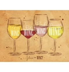 Poster types of wine kraft vector image vector image