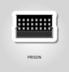 Prison black building sticker vector